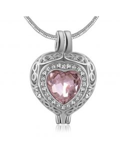 Filigree Gem Baby Pink Stone - Premium White Gold Plated Stainless Steel Cremation Ashes Jewellery Urn Pendant
