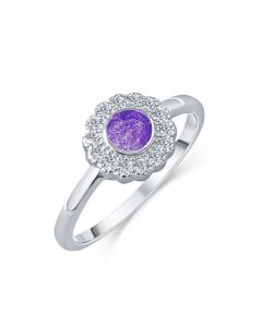 LifeStone™ Ladies Forever Fleur Cremation Ashes Ring-Violet-Sterling Silver