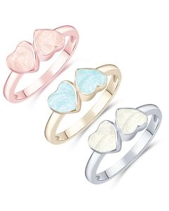 LifeStone™ Ladies Forever Together Hearts Cremation Ashes Ring