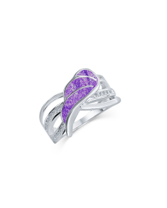 LifeStone™ Ladies Guardian Angel Cremation Ashes Ring-Violet-Sterling Silver