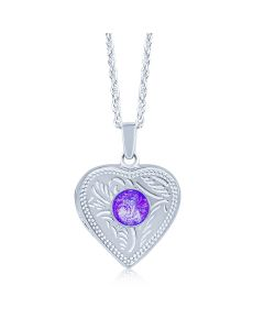 LifeStone™ Ladies Sterling Silver Cremation Ashes Heart Photo Locket-Violet