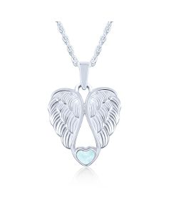 LifeStone™ Heart Wings Cremation Ashes Pendant-Aquamarine