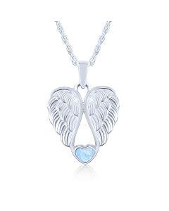 LifeStone™ Heart Wings Cremation Ashes Pendant-Azure