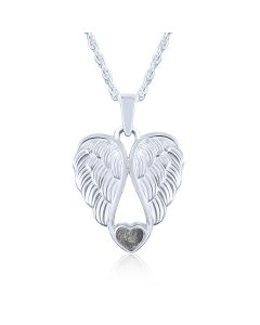 LifeStone™ Heart Wings Cremation Ashes Pendant-Midnight