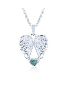 LifeStone™ Heart Wings Cremation Ashes Pendant-Peacock