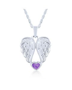 LifeStone™ Heart Wings Cremation Ashes Pendant-Violet