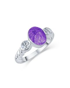 LifeStone™ Ladies Evermore Infinity Band Cremation Ashes Ring-Violet-Sterling Silver