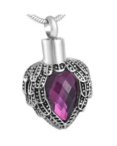 Jewelled Wings Boysenberry - Stainless Steel Cremation Ashes Jewellery Pendant