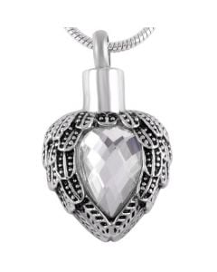 Jewelled Wings Clear - Stainless Steel Cremation Ashes Jewellery Pendant