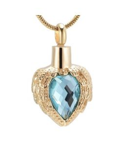 Jewelled Wings Gold Azure - Stainless Steel Cremation Ashes Jewellery Pendant