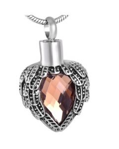 Jewelled Wings Vintage Rose - Stainless Steel Cremation Ashes Jewellery Pendant