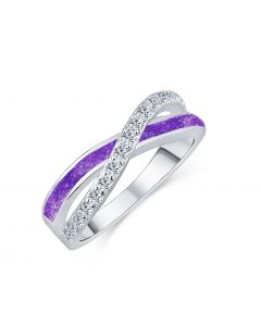 LifeStone™ Ladies Eternal Kiss Cremation Ashes Ring-Violet-Sterling Silver