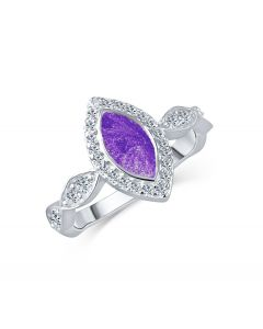 LifeStone™ Ladies Marquise Cremation Ashes Ring-Violet-Sterling Silver