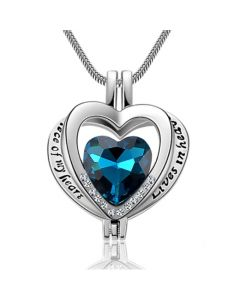 My Heart is in Heaven Blue - Premium Stainless Steel Cremation Ashes Necklace Pendant