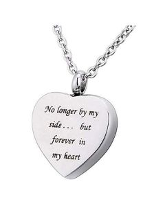 No Longer by my Side Heart - Stainless Steel Ashes Jewellery Memorial Urn Pendant