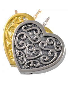 Ornate Heart - Cremation Ashes Memorial Pendant