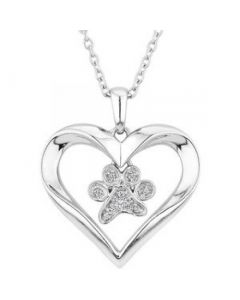 Sparkle Paw Heart Sterling Silver Cremation Ashes Memorial Pendant
