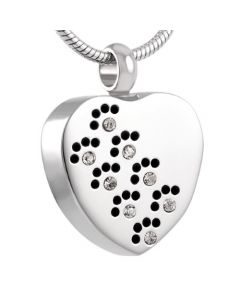 Paw Print Sparkle - Stainless Steel Pet Ashes Jewellery Pendant