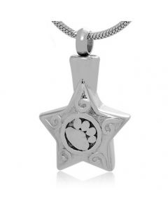 Paw Print Star - Stainless Steel Pet Ashes Memorial Jewellery Pendant