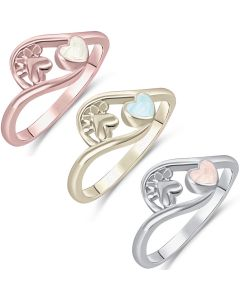 LifeStone™ Pet Paw Heart Cremation Ashes Ring