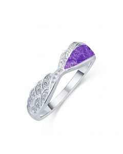 LifeStone™ Ladies Precious Wing Cremation Ashes Ring-Violet-Sterling Silver