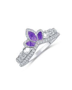 LifeStone™ Ladies Princess Tiara Cremation Ashes Ring-Violet-Sterling Silver