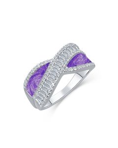 LifeStone™ Ladies Radiance Cremation Ashes Ring-Violet-Sterling Silver