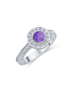 LifeStone™ Ladies Radiant Circle Cremation Ashes Ring-Violet-Sterling Silver