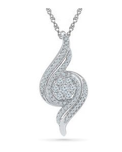 Radiant Ribbon Sterling Silver Cremation Ashes Memorial Pendant