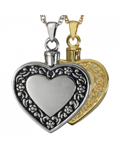 Rimmed Heart - Cremation Ashes Memorial Pendant