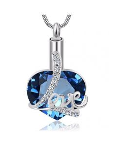 Sapphire Love Heart - Premium White Gold Plated Stainless Steel Cremation Ashes Jewellery Urn Pendant