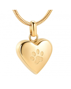 Pet Paw Heart Gold - Stainless Steel Cremation Ashes Memorial Pendant