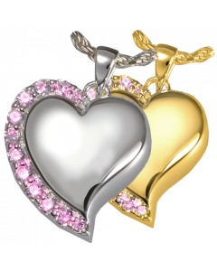 Shining Star Heart Pink Stones - Cremation Ashes Memorial Pendant