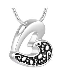 Slide Paw Print Heart - Stainless Steel Pet Ashes Jewellery Urn Pendant