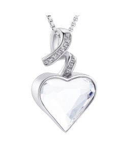 Sparkle Ribbon Heart -Stainless Steel Cremation Ashes Jewellery Urn Pendant