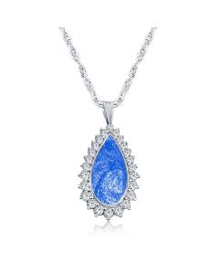 LifeStone™ Cherished Tear Cremation Ashes Pendant-Sapphire-Sterling Silver