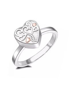 Tree of Life Heart Ring - Stainless Steel Cremation Ashes Jewellery Urn Memorial Keepsake
