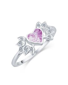LifeStone™ Ladies Winged Heart Cremation Ashes Ring-Violet-K