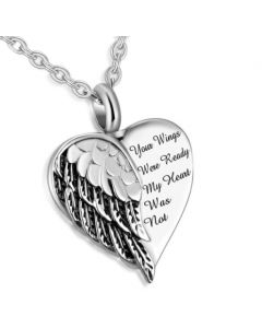 Your Wings Were Ready Heart -Stainless Steel Cremation Ashes Jewellery Urn Pendant